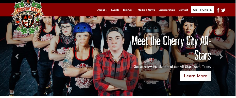 Screen grab from Cherry City website, web copy writing