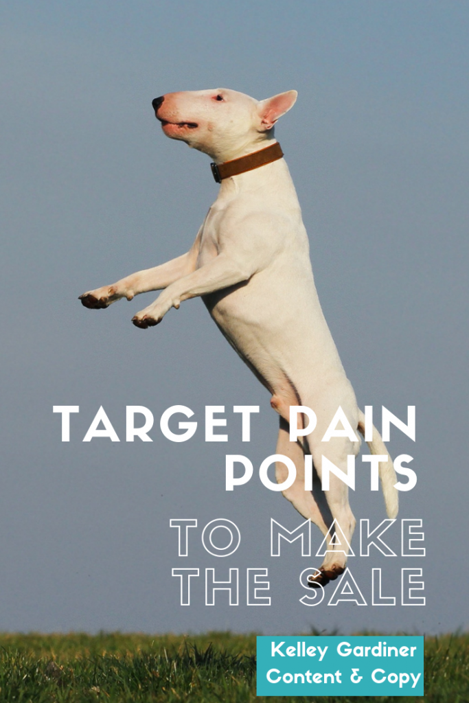 leaping white dog, with text overlay