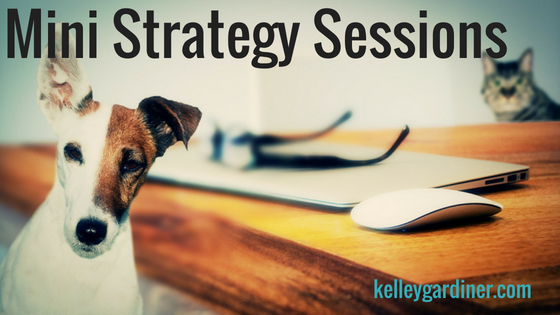 "Cute dog with text ""mini strategy sessions"""